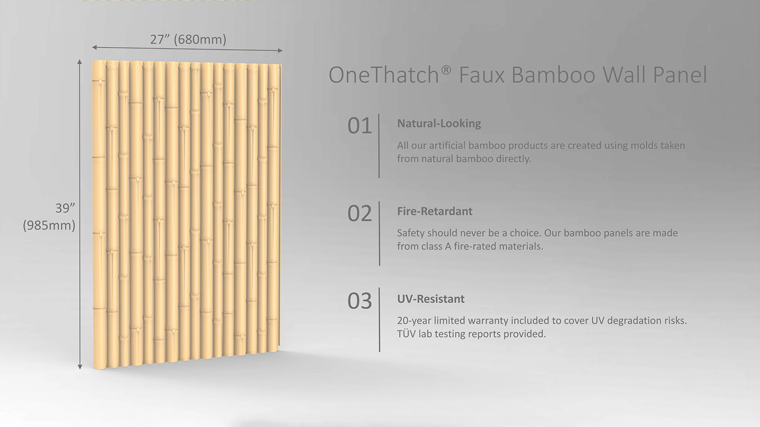 Faux Bamboo Panel Spec