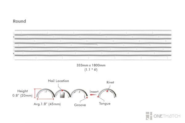 プラスチック製ラウンド竹壁パネルの仕様 - ONETHATCH
